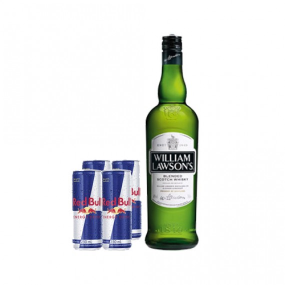 Combo Whisky William Lawson's 750ml +4 Red Bull's