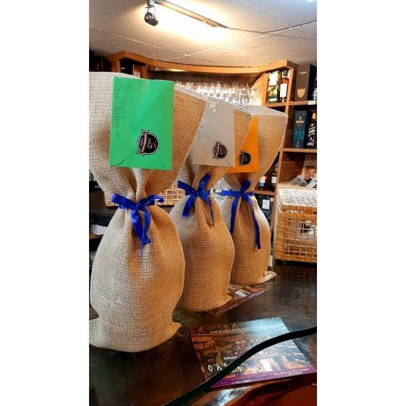 Embalagem de Presente Saco Juta + Laço + cartão + Sacola Kraft