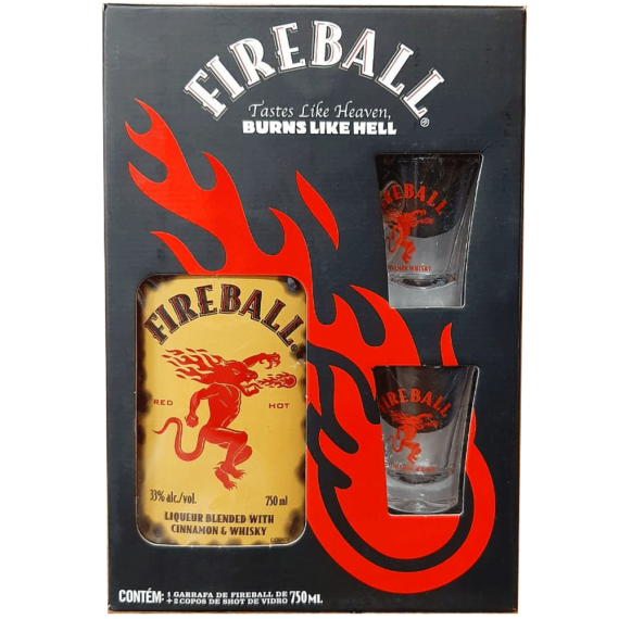 Kit Whisky Fireball com 2 copos shots